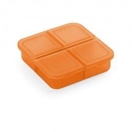 Cutie separator de pastile pentru varstnici , portocaliu semitranspaarent 4 compartimente 6/6/2