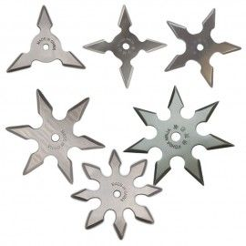 Set 6 bucati steluta ninja 3, 4, 5, 6, 7 si 8 colturi pentru aruncat la tinta in husa