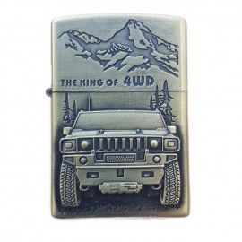 Bricheta tip zippo, 3D relief, metalica, king of 4wd m3